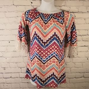 💥 WIN-WIN Colorful Bell Sleeves 1/2 Sleeve Lace Tunic